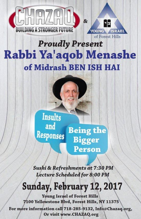 Rabbi Ya'aqob Menashe Lecture: